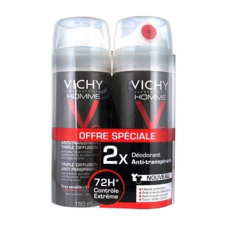Vichy Homme Desodorante Spray Triple Diffusion 150ml x2 unidades