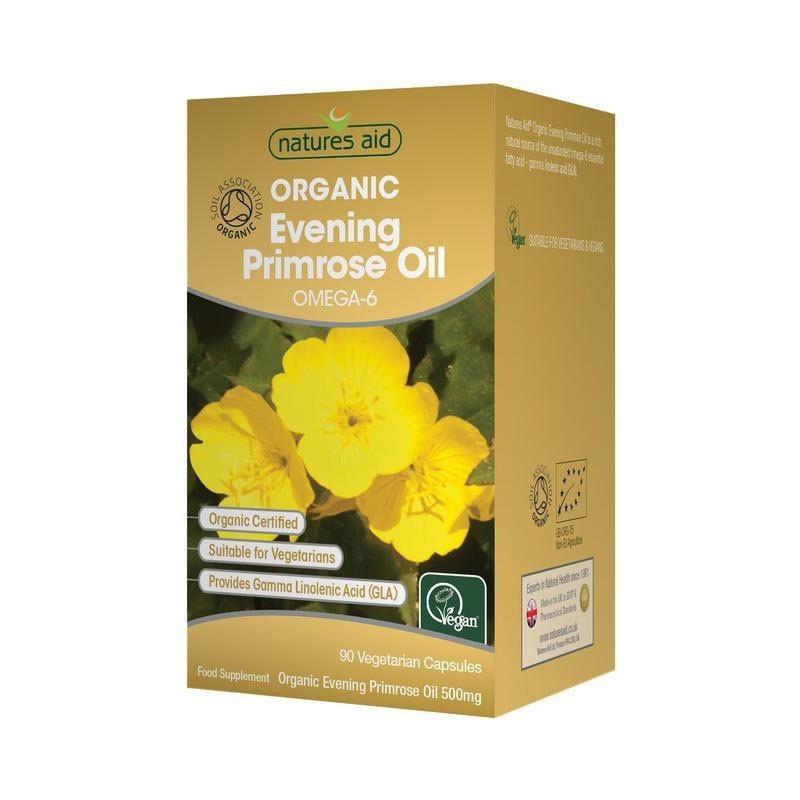 Natures Aid Organic Evening Primrose Oil Aceite de Onagra 500mg 90 cápsulas