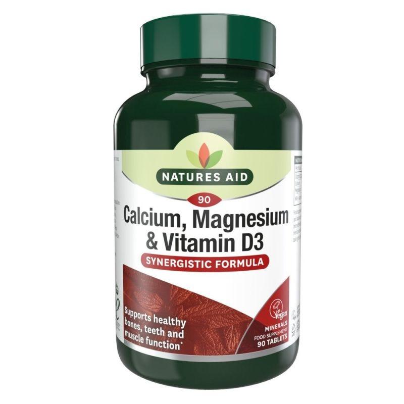 Natures Aid Calcio, Magnesio y Vitamina D3 90 tabletas