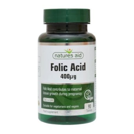 Natures Aid Acido Fólico 400mg 90 tabletas