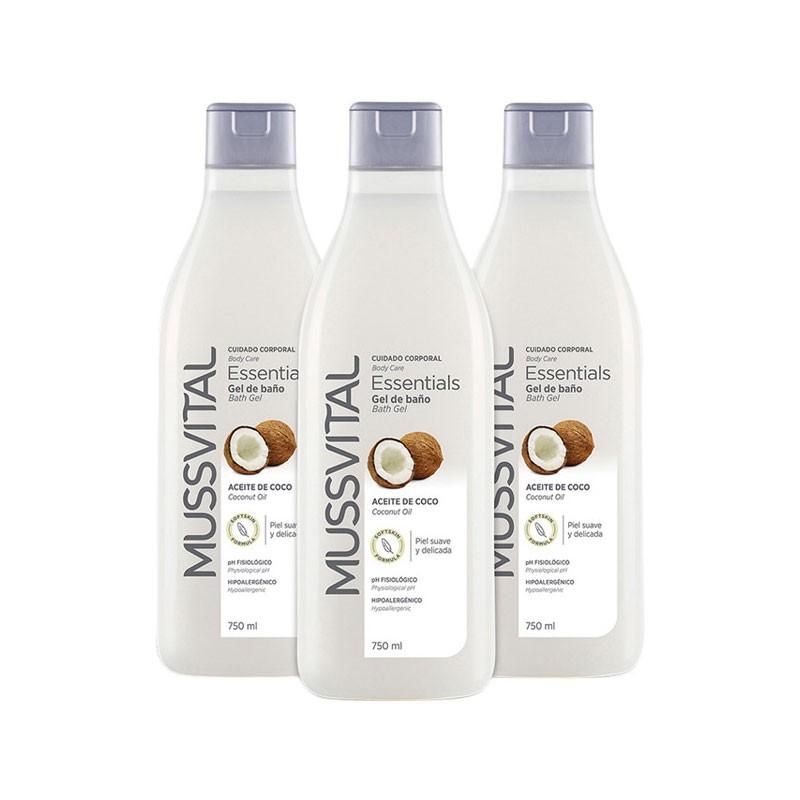 Mussvital Essentials Gel de Baño Coco 750ml x3 unidades