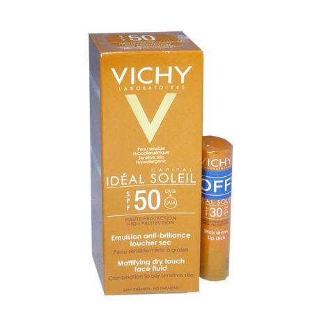 Vichy Idéal Soléil SPF50 Emulsión Antibrillos Toque Seco + Stick Labial SPF30