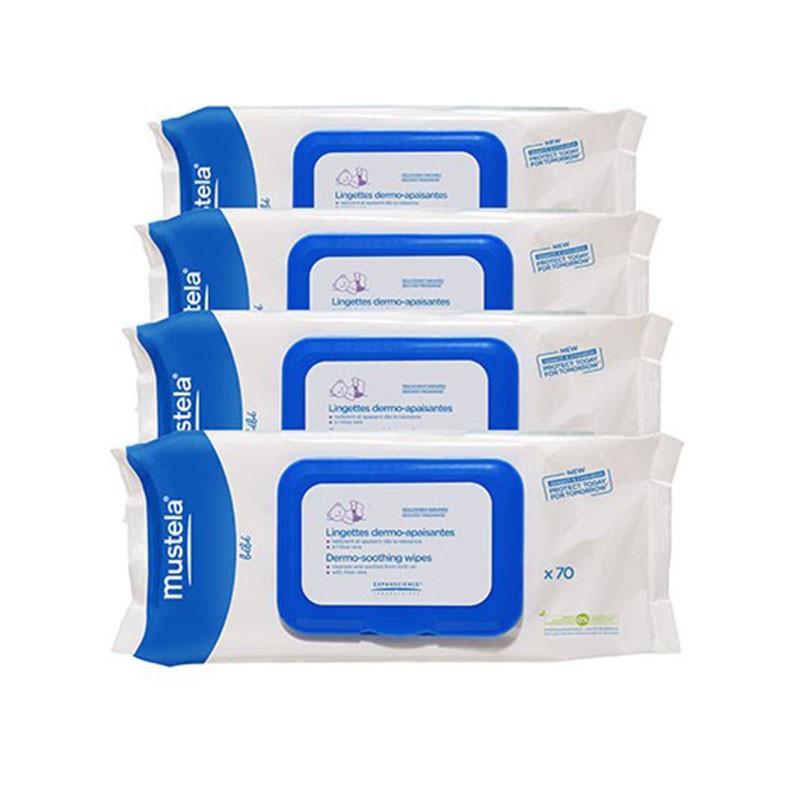 Mustela Toallitas Dermo Calmantes 70 toallitas x4 unidades