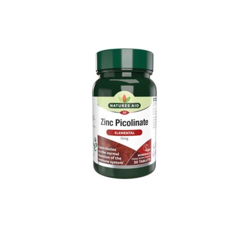 Natures Aid Zinc Picolinato 15mg 30 cápsulas