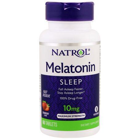 Natrol Melatonina 10mg Fast Dissolve Sabor Fresa 60 tabletas