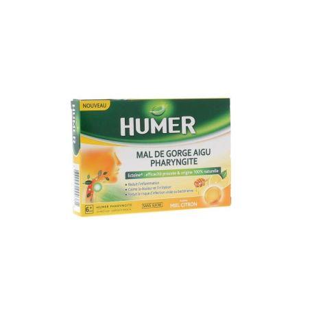 Humer Dolor de Garganta Agudo Faringitis 20 pastillas miel limón
