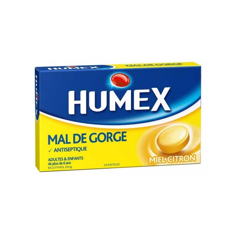 Humex Antiséptico Dolor de Garganta Miel-Limón 24 pastilllas